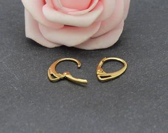 10 support of stud earrings 18 mm x 11 mm BO55 Golden brass