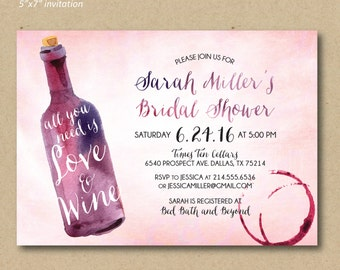 Wine tasting invitation bridal shower invitation wine and printable bridal shower invitation wine shower invitation watercolor wine invitation all you need filmwisefo Image collections
