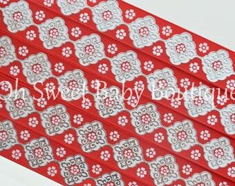 "7/8"" Red & White Foil Damask"