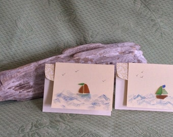 Seaglass Sailboat Notecards - Set of Two
