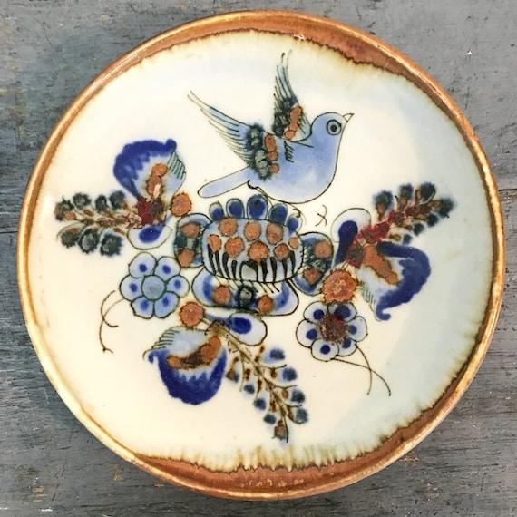 vintage Mexican pottery plate - Ken Edwards Tonala - decorative ceramic dish - boho bird floral - blue brown