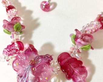Lampwork raspberry pink flower necklace