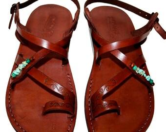 Brown Decor Roxy Leather Sandals For Men & Women - Handmade Sandals, Leather Flip Flops, Jesus Sandals, Unisex Sandals, Brown Decor Sandals