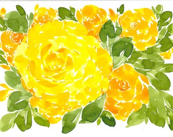 Bright Yellow Floral Abstract Original WATERCOLOR Painting