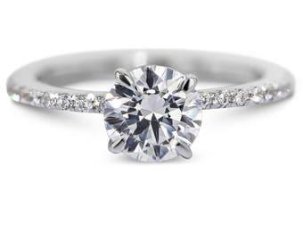 Engagement Ring, 1.5 Carat Diamond Ring, Round Brilliant Cut Diamond Engagement Ring, 18K White Gold, bridal ring, wedding Diamond ring