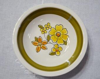 Vintage Mikasa Cera Stone Awake Cereal Bowl Yellow Orange Green Flower Power Mod Replacement D1450 Japan PanchosPorch