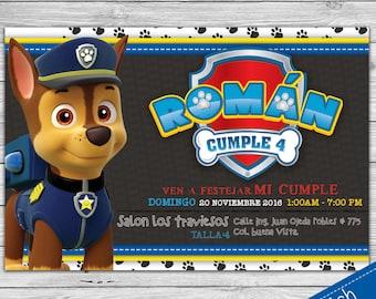 Invitacion Paw Patrol- Patrulla de Cachorros -Chase - Invitación Español personalizada para imprimir