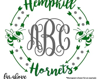 Hemphill Hornets SVG, DXF, png, jpg digital cut file for Silhouette or Cricut