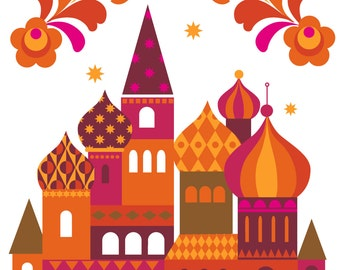 Moscow Art Print - Russia Print - St Basils Cathedral wall art, illustration, art print, poster
