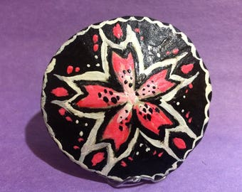 Pink and Black Flower Sand Dollar