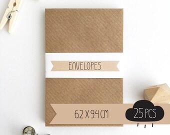 Envelope mini / kraft brown / 6,2 x 9,4 cm / 25 pieces / business card envelope / gift card envelope