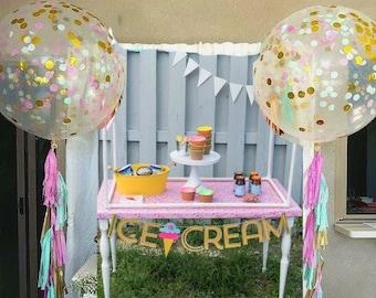 """Giant Confetti Balloon AND Tassel Balloon Tail Garland Assembled Tassels One 36"""" Confetti Balloon Birthday Balloons Large Balloon  & Tail"""