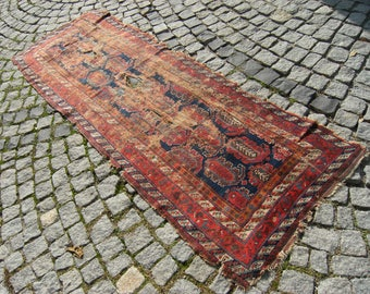 1850's Caucasian Vegetable Dye Collectible  Fragment  Carpet  Rug  31,4'' X 92,5''  Area  Rug