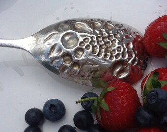 Antique Berry Spoon, Silver Plated Flatware, Vintage Cutlery, Serving Spoon, English Plate, Housewarming  Gift,
