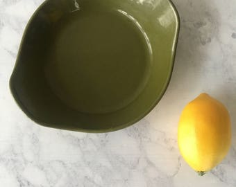 Vintage Cast Iron Gratin Pan | Avocado Green, cast iron cookware, likely Copco, green enamel cook ware, olive green kitchen, enamelware