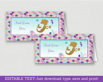 Mermaid Baby Shower Tent Cards / Food Labels / Place Cards / Mermaid Baby Shower / Glitter Mermaid / INSTANT DOWNLOAD Editable PDF A462