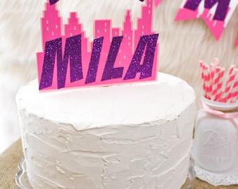 girl superhero cake - super girl cake topper - supergirl cake topper - supergirl party - supergirl birthday - super girl party