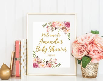 Welcome Baby Shower Sign, Welcome to Printable Sign, Floral Baby Shower, Girl Baby Shower Decoration, Baby Shower Sign, Glitter Gold 02