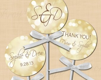 """White Gold Sparkles Round Labels (2""""): Text-Editable, Printable on Avery 22807 and 22817, Instant Download"""