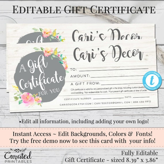 Gift certificate voucher printable gift cert editable gift gift certificate voucher printable gift cert editable gift certificate instant download business templates shop voucher templett yadclub Image collections