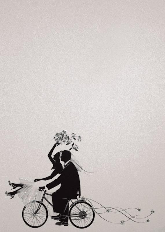 Wedding bicycle silhouette blank wedding andor bridal shower like this item filmwisefo Choice Image