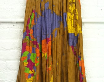 Reserve for Goddal UNIQUE  1970's FIORUCCI Pleated Rayon  Map Mid Calf SKIRT