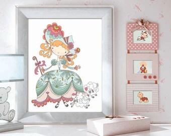 Nursery Print, Christmas Gift Baby, Girls room Decor, Baby Girl Nursery, Kids Wall Art, Nursery Decor, Nursery Wall Art, Little Bo Peep