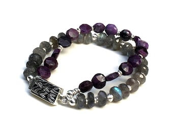 Purple Sugalite  Labradorite Two Strand Beaded Box Clasp Bracelet  Sterling Silver Etched Clasp Boutique Wearable for Her Under 300 OOAK