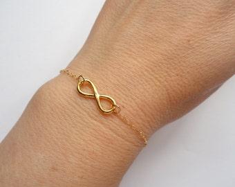 Gold Infinity bracelet, Infinity bracelet, Bridesmaid gift, Infinity jewellery, Bridal bracelet