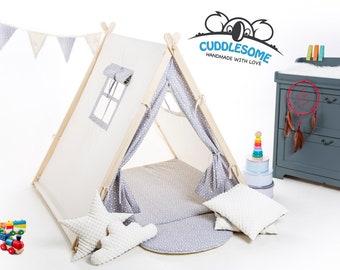 Children teepee tent, garden playhouse, grey stars child teepee, best birthday gift, kids tipi, kids tent, kids teepee, kids tipi room decor