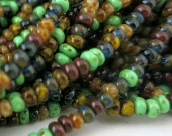 8/0 Moss Mosaic Picasso Seed Bead Mix, Full Strand 250 Beads, Czech Glass Seed Beads, #BMPMX