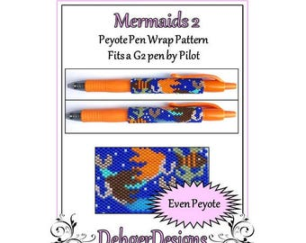 Peyote Beading Pattern (Pen Wrap/Cover)-Mermaids 2