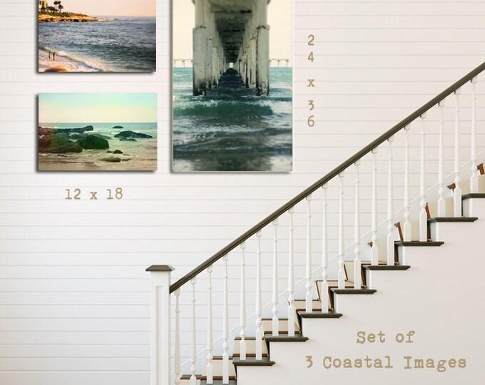 California Coastal Photograph Set, Beach House Decor, Beach Seascape Tryptic, Nautical Home Decor 8x12 10x15 12x18 16x24 20x30 24x36