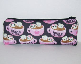 "Pipe Pouch, Hot Cocoa Bag, Hugs, Girlfriend Gift, Pipe Case, Pipe Bag, Cute Pouch, Padded Pouch, Zipper Pouch, Vape Pen Bag - 7.5"" LARGE"