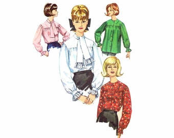 1960s Misses Front Button Blouse Pattern Simplicity 5573 Vintage Sewing Pattern Smock Long Sleeves Tie Collar Size 12 Bust 32 UNCUT