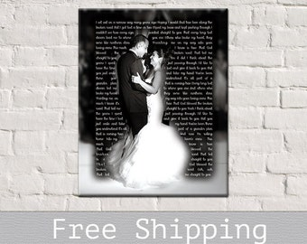 First Dance Song Lyrics - 1st Anniversary Gift - Wedding Anniversary - Song Lyrics Art -  Canvas Print - Anniversary Gift - Free Shipping