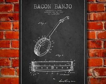1927 Bacon Banjo Patent, Canvas Print, Wall Art, Home Decor, Gift Idea