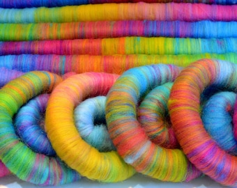 Polwarth Rolags - 100 grams Rainbow Hand Blended Polwarth Rolags for Spinning