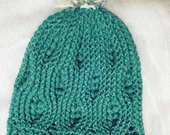 green ski cap