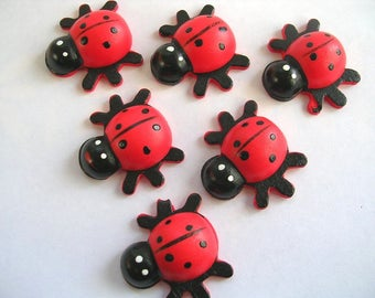LOT 6 wood Motif APPLIQUES: Ladybug red 28 * 26mm