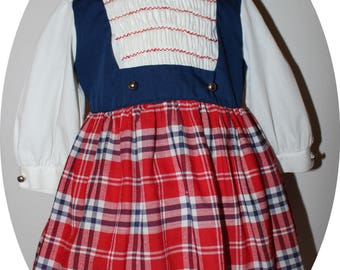 VTG 1960s Polly Flinders Red White Blue Plaid Faux Jumper Dress White Blouse Hand Smocked Embroidered School Dress - 3YR