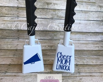 Cheer cowbell, personalized cow bell, noise maker, cheer coach gift, cheer mom, cheerleading gifts, cheerleader gifts, Sports fan gift