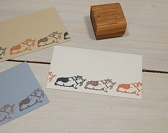 Little Smooth Haired Guinea Pig Olive Wood Stamp