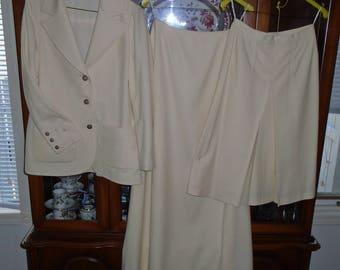 1970 Virgin Wool Three Piece Winter White Suit