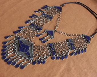 Vintage goddess Turkish tin necklace with plentiful Lapis lazuli stones boho festival