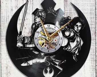 Star Wars Vinyl Clock Princess Leia Luke Skywalker Star Wars Gift Star Wars Wall Art