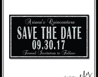 Quinceanera Save the Date, Black and Glitter, Sweet 16 Save the Date, Sweet 15 Save the Date, Customizable, DIY Printable Invitation