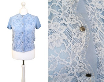 Blue Lace Blouse | 1960's Blouse | Vintage Blouse | Lace Top | Short Sleeved Blue Blouse | UK14