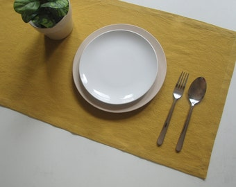 Table Runner, Linen Table Runner, for Home Decor, Party, Wedding, Select A Size, mustard.