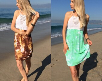 Crochet dress, tie dye dress, smocked dress, boho dress, festival dress, summer dress, halter dress, womens dress, midi dress, sun dress